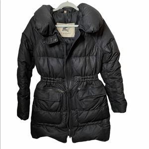 Burberry Down Jacket Black Cinched Waist Small